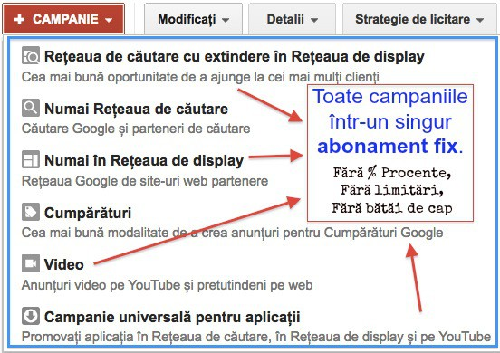 Abonament administrare si mentenanta Campanii Google AdWords