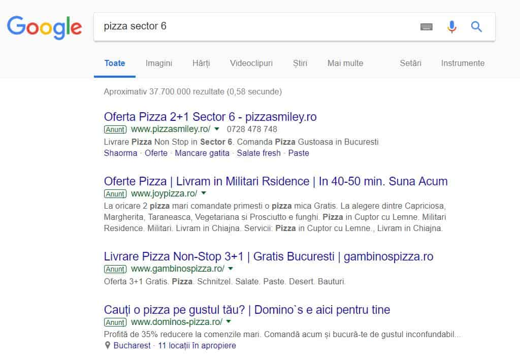 Campanii Google Ads Anunturi Sponsorizate Exemplu Pizza